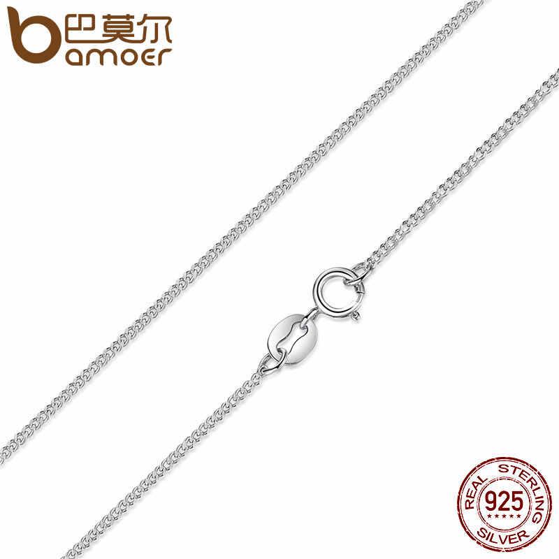 BAMOER Classic Basic Chain 100% 925 Sterling Silver karabińczyk regulowany naszyjnik łańcuch biżuteria SCA009-45