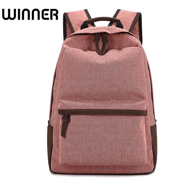 Winner Canvas Backpack for Teenage Girls Simple Solid Leisure Travel Backpack Student Wear-resistant Breathable Backpacks