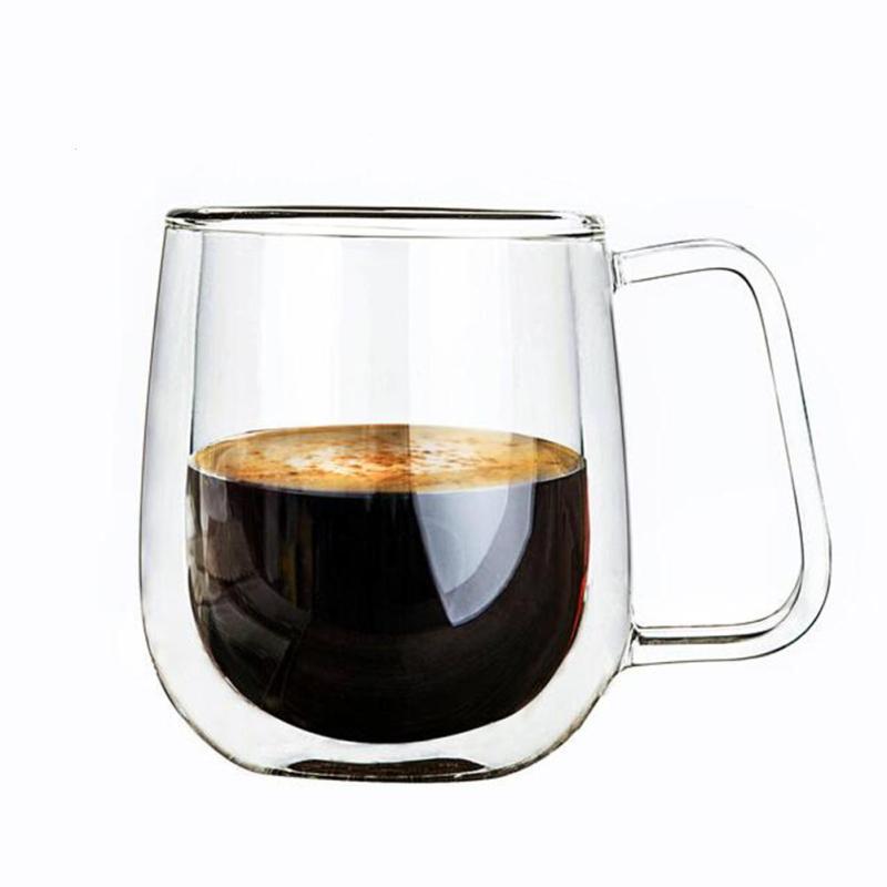 84a452fb88a Double Wall Glass Cup Tea Coffee Cup Set with Handmade Heat-resistant  Creative Mug Insulated Tea Mugs Transparent Drinkware