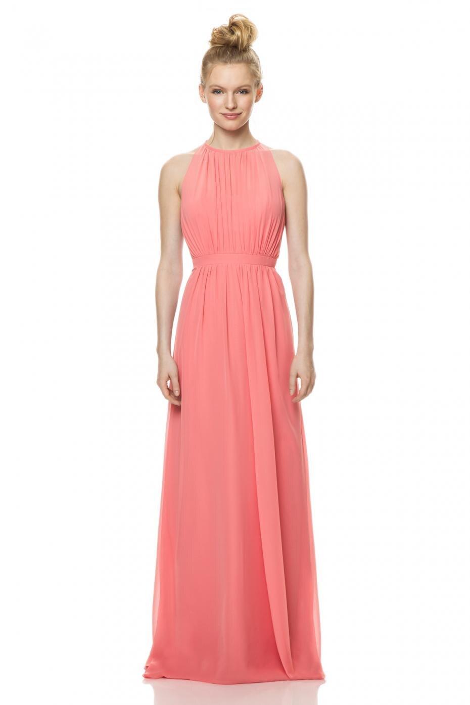 Novia sin mangas Elagant gasa rizado largo verde rosado brillante ...