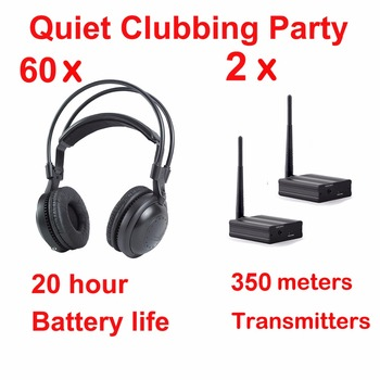 Most Professional Silent Disco compete system wireless headphones - Quiet Clubbing Party Bundle (60 Headphones + 2 Transmitters)