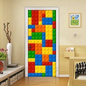 Image 2 - Настенные 3D обои для детской комнаты, кирпичи Lego, Декоративные самоклеящиеся дверные наклейки из ПВХ, водонепроницаемая