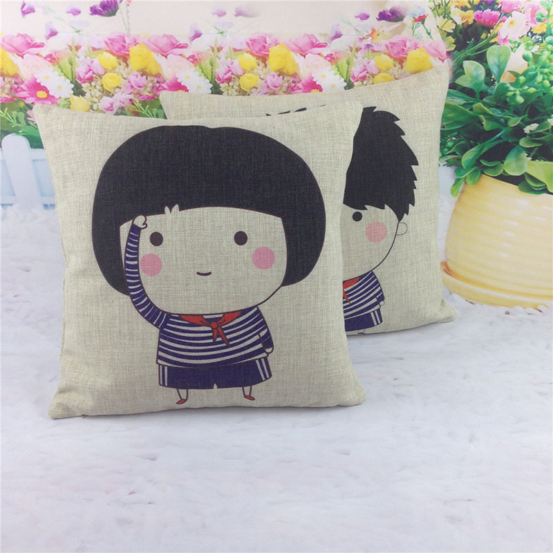 Student Boy and Girl cartoon cotton Linen decorative cushion cover Sofa Throw Pillow Cover Chair Car Pillow Case