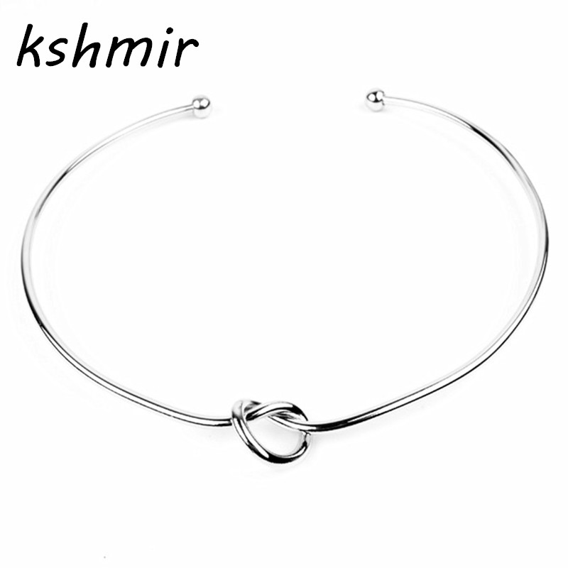 Fashion jewelry wholesale new contracted copper knot necklace elegant gold or collar opening female necklace Fashion collars