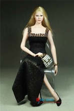 1/6 Scale Phicen Figure  Accessories Black Sexy Long Dress Gown With High Slits for Female Large/Middle Bust PHICEN Doll ToysP45