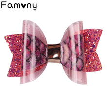 3 Inch Mini Bow Hairgrip Shiny Hair Clips Glitter Stars PVC Fabric Boutique Handmade Accessories DIY Supplies