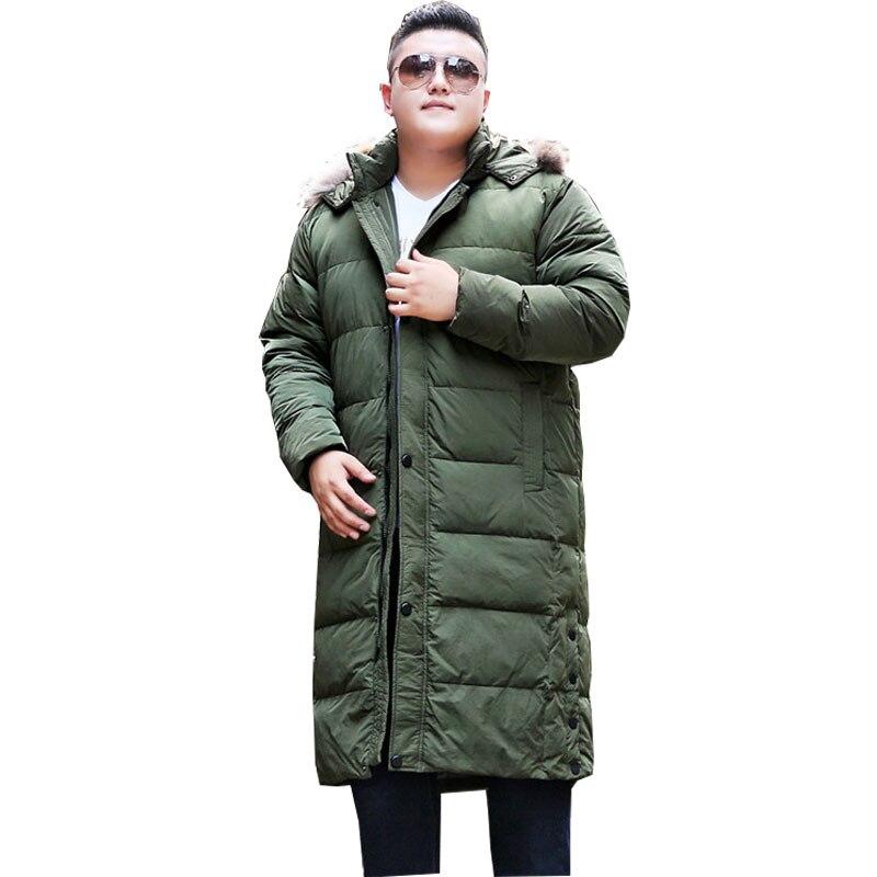 Hommes Vestes D'hiver de Mode À Capuchon Chaud Coton Casual Veste À Capuche Hommes de Long Sur Les Genoux Surdimensionné Manteau pour 170 kg Hommes de Porter