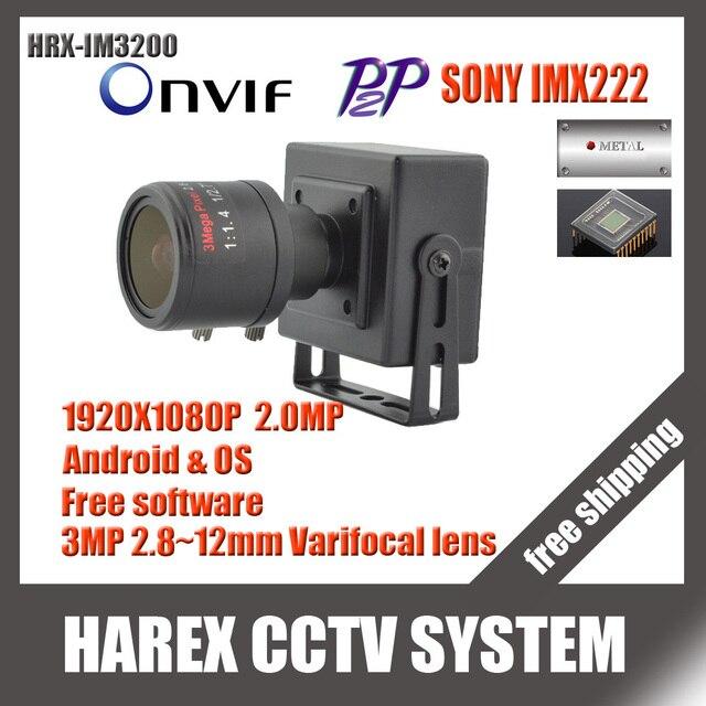 Sony IMX323/OV2710 1080 P 2.0MP mini Caméra IP ONVIF 2.8-12mm manuel objectif zoom à focale variable Plug et Jouer Avec support