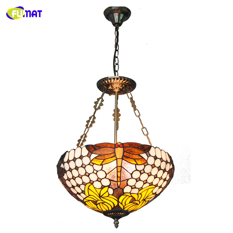 FUMAT Dragonfly Tiffany Lamps Inverted Pendant Lights Baroque Stained Glass Floral Lampshade For Living Room Bed Room Lightings|Pendant Lights| |  - title=