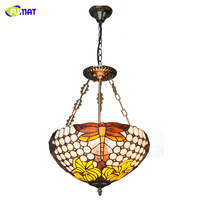 FUMAT Dragonfly Tiffany Lamps Inverted Pendant Lights Baroque Stained Glass Floral Lampshade For Living Room Bed Room Lightings
