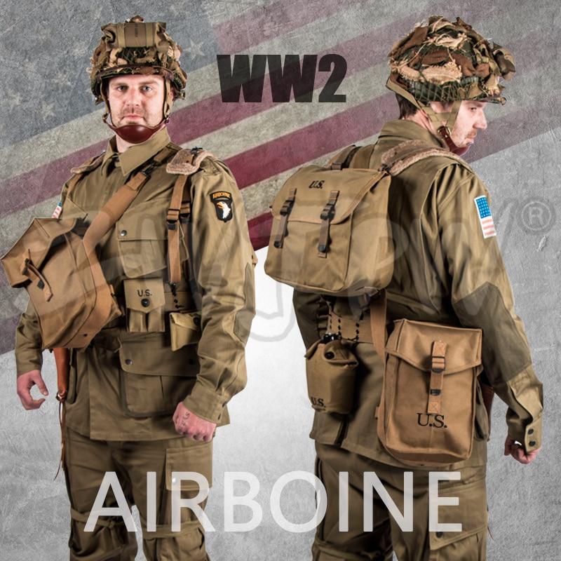 WW2 US BAND OF BROTHERS 101 AIRBORNE SET PARACADUTISTA ADATTA UNIFORME e ATTREZZATURE SET M42 di ALTA QUALITÀ ESERCITO MILITARE
