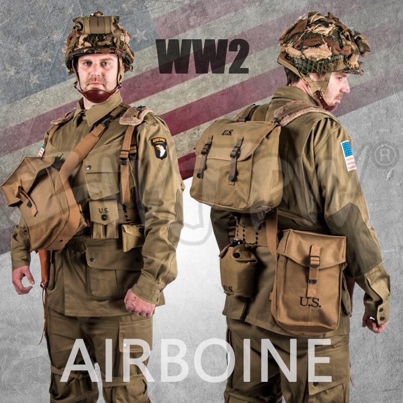 WW2 US BANDE DE FRÈRES 101 AIRBORNE ENSEMBLE PARACHUTISTE COSTUMES UNIFORMES et ÉQUIPEMENT ENSEMBLE M42 DE HAUTE QUALITÉ ARMÉE MILITAIRE