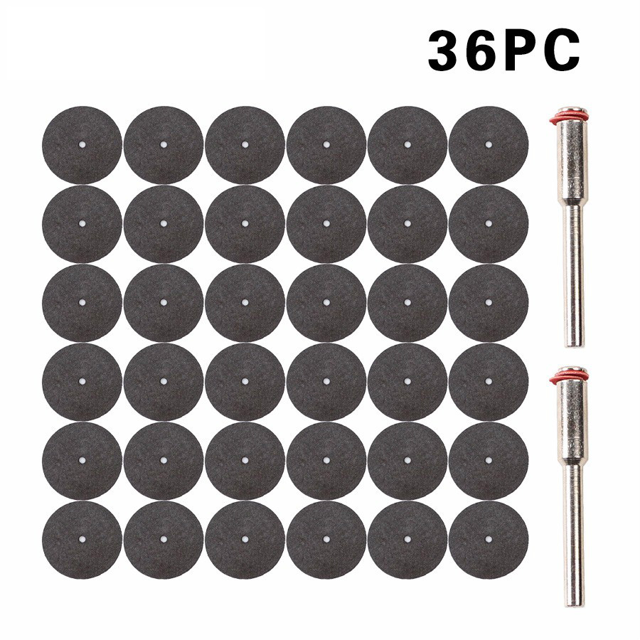 36pcs Resin Cut-off Wheel Cutting Disc Kit For Dremel Rotary Hobby Tool Bit Dremel Accessories +2 Pcs Mandrel