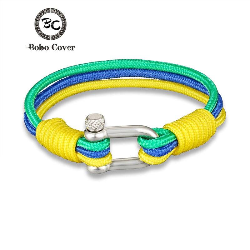 New Fashion National flag Woven Stainless steel Multilayer Rope Bracelet Anchor Survival Bracelets Men Women Jewelry Pulseras