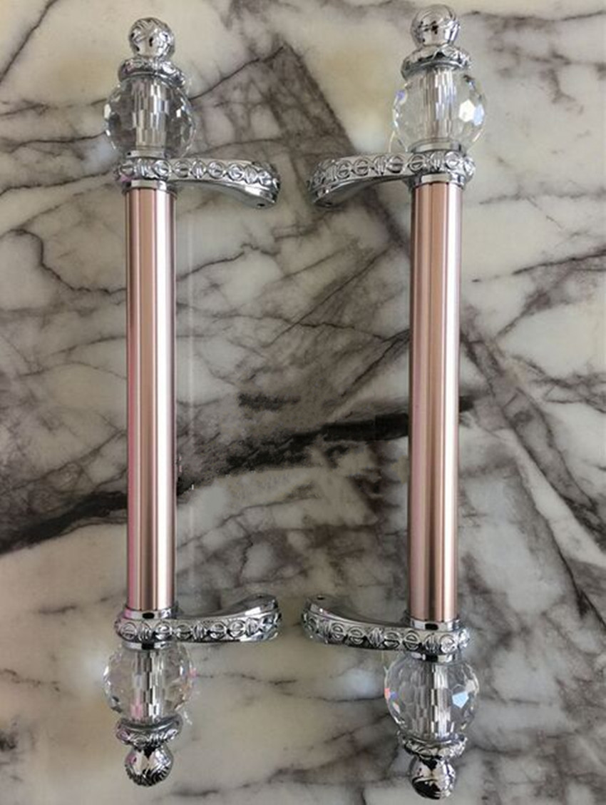 600mm 500mm Modern Fashion Deluxe Rose Gold Ktv Hotel Home Office Wooden  Glass Door Handles Crystal