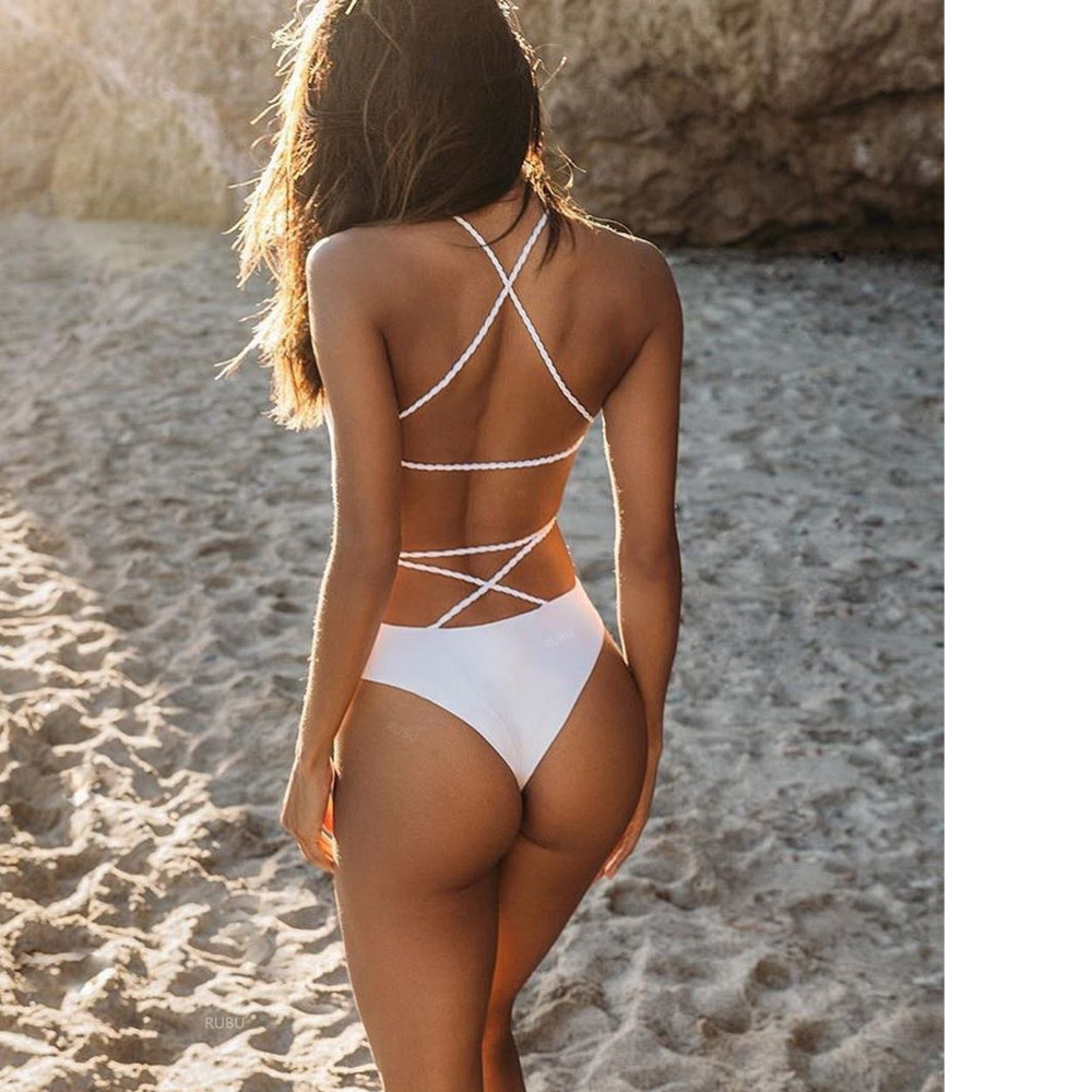 <font><b>Sexy</b></font> Strappy One Piece Girls Swimsuit Swimwear 2019 Women Female High Waist <font><b>White</b></font> <font><b>Bikini</b></font> Badeanzug Biquini Brasileiro Beach Wear image