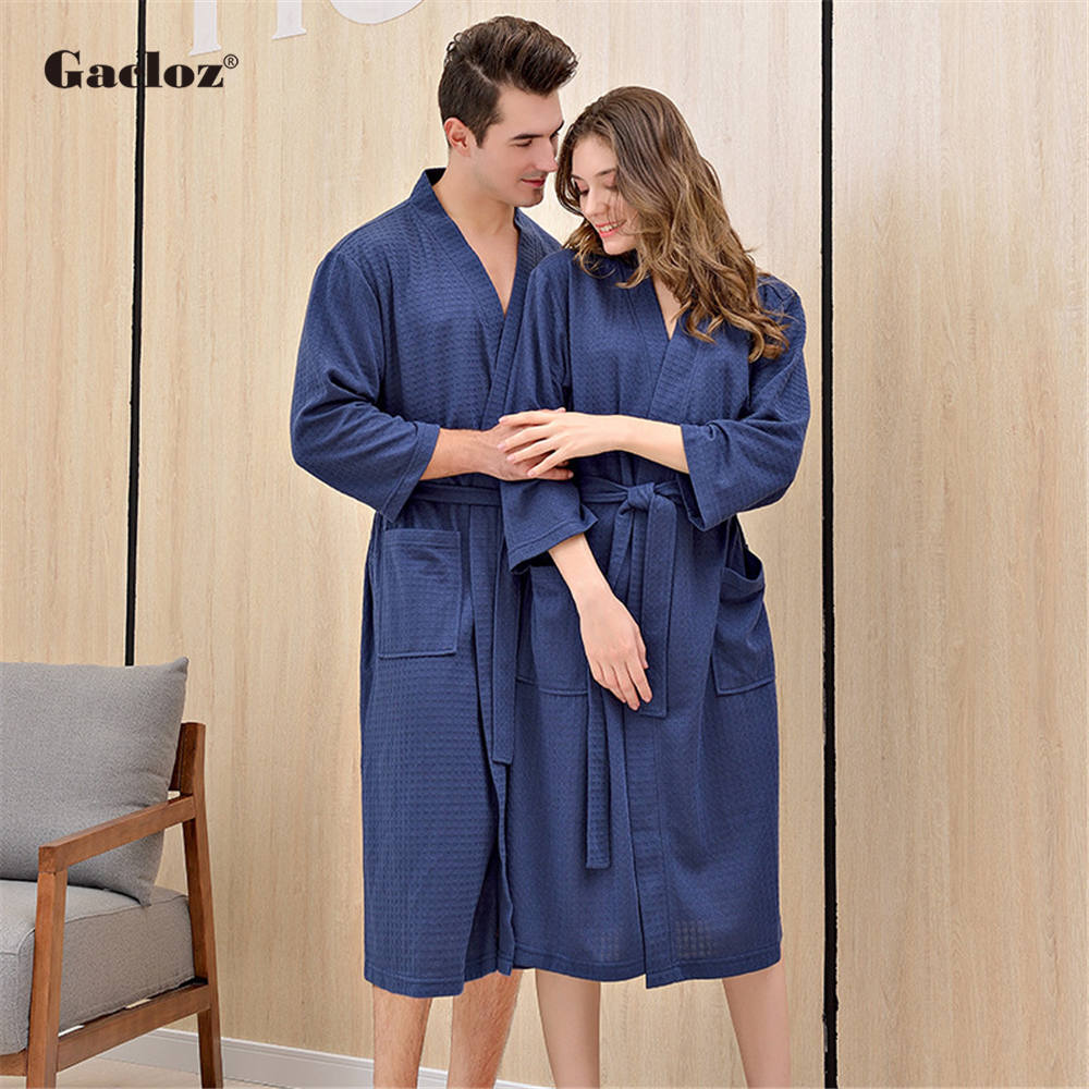 Gacloz Nightgowns Bathrobe Sleepwear Kimono Waffle Thin Plus-Size Women Summer Lovers