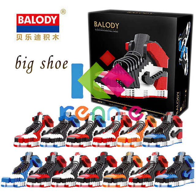 quality design fb3a3 6d469 US $64.0 |13different sport big Basketball shoes air jordan brick aj XI  XIII III assemable model building block toy For children gifts-in Blocks  from ...