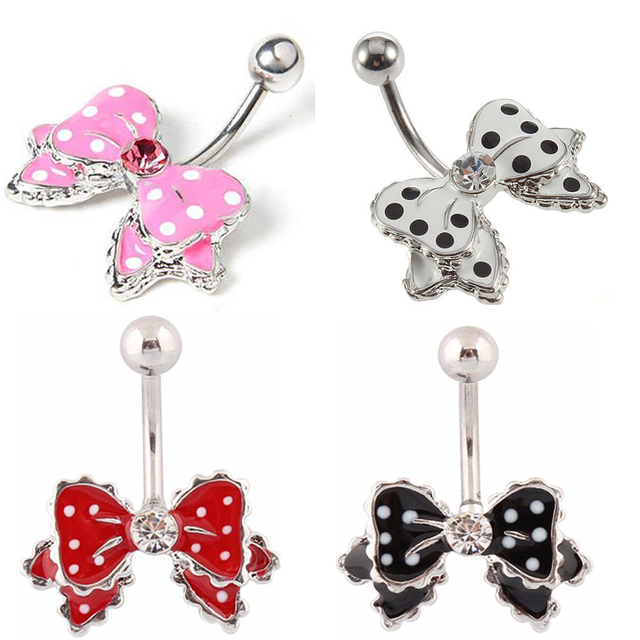 Us 1 59 Showlove New Beauty Cute Bow With Polka Dots No Dangle Belly Ring Bar Navel Ring Piercing 14g Body Jewelry On Aliexpress Com Alibaba Group