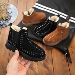 2018 детские зимние сапоги зимние плюшевые теплые ботинки Martin обувь для мальчиков кожа мягкий флис Нескользящие обувь для девочек милые