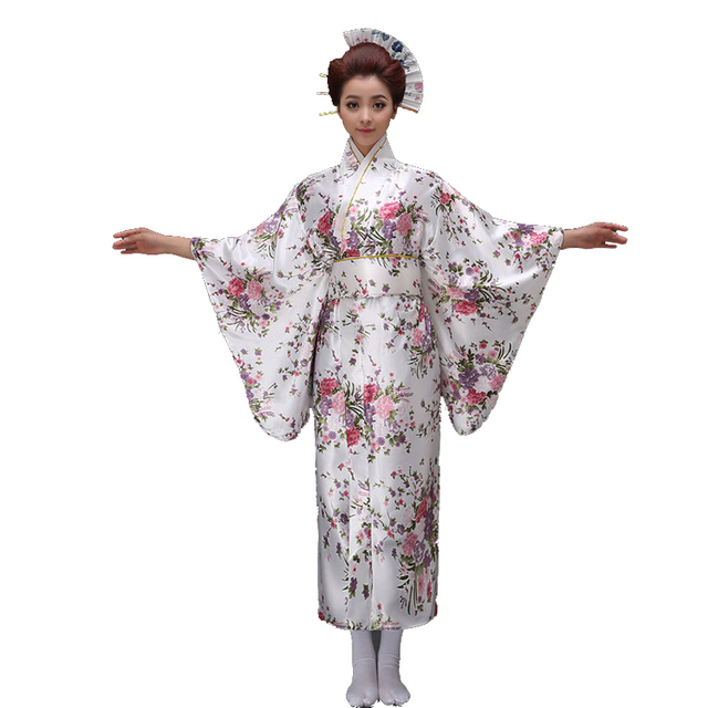 60ec723247 US $23.8 49% OFF|Sexy White Japanese Women Evening Dress Silk Rayon Kimono  Yukata With Obi Dance Dress Cosplay Costume Flower One Size 021501-in ...