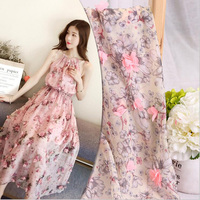 The Pink 3D Rosette Flowers Appliques Embroidered Lace Fabric African Lace Fabric 2017 High Quality Lace For Wedding Dress DIY