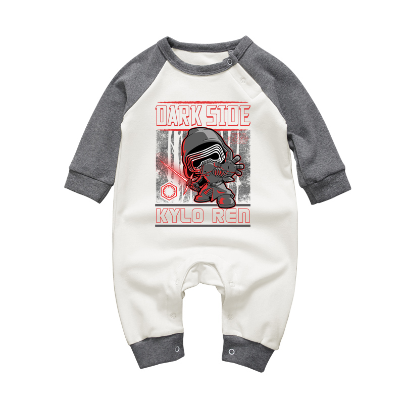 Spring Auttmn Brand Unisex Baby Clothing Rompers Star Wars Kylo Ren Printed Long Sleeve Jumpsuits for Newborn Boys Girls Pajamas unisex baby boys girls clothes long sleeve polka dot print winter baby rompers newborn baby clothing jumpsuits rompers 0 24m