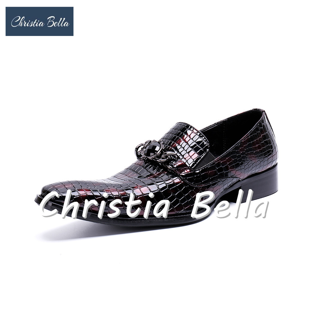 Shoes 2019 Latest Design Christia Bella Designer Genuine Leather Men Shoes Silver Printing Business Shoes Metal Charm Wedding Men Dress Shoes Plus Size