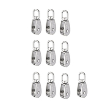 цена на Crane Pulley Block M15 Lifting Crane Swivel Hook single Pulley Block Hanging Wire Towing Wheel 10Pcs