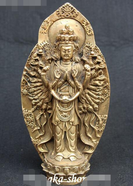 Chnia Bronze Stand 1000 Arms Avalokiteshvara of Goddess Kwan-yin Guan Yin StatueChnia Bronze Stand 1000 Arms Avalokiteshvara of Goddess Kwan-yin Guan Yin Statue