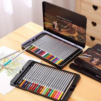 цена water-soluble colored pencil 36 48 72 colors iron box pencil deli colored paint water color pencils онлайн в 2017 году
