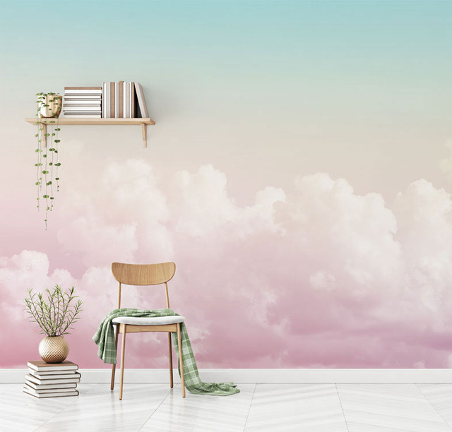 US $11 88 34% OFF|5D/8D Custom Pink Cloud 3d Cartoon Sky Wallpaper Murals  for Walls Girls Baby Room 3d Cartoon Mural 3d Wall paper Sky sticker-in