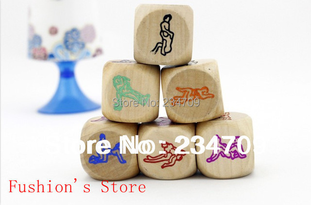 Free shipping,Sex Funny Adult Love Humour Gambling Sexy Romance Erotic Craps Dice Pipe Toy  wooden color printing dice,1 pcs/lot