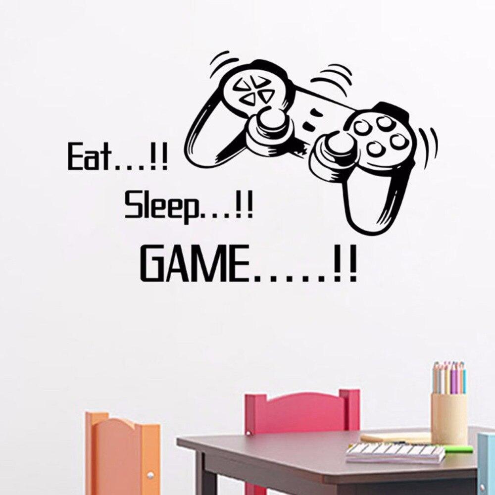 1 pcs Mangez le Jeu de Sommeil vinyle mur art autocollants gamer xbox ps3 Garçons Chambre Lettre Cite La Maison Décoration Drôle Papier Peint S4