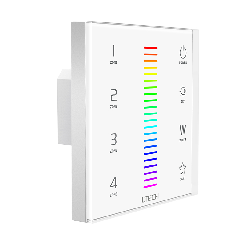 цена на LTECH Led RGBW strip controller 220V 2.4GHz RF wireless and DMX multi function Glass Touch Wall Panel Led strip RGBW controller