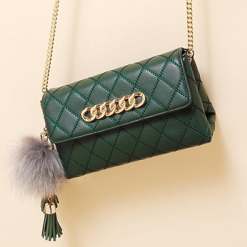 Women's Shoulder Bag Luxury Cowhide Split Leather Handbag Women Bag Fur Ball Chain  Tassel Female Crossbody Bag Small Flap Pouch