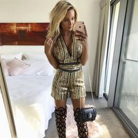 2017 Newest Summer Jumpsuit Women Celebrity Party Sleeveless Off Shoulder Sequined Sexy Night Out Playsuit Women
