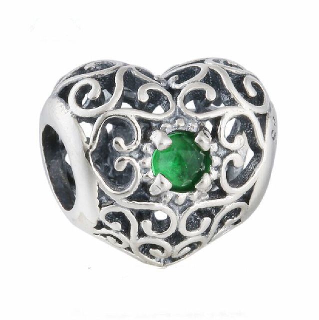 94303e4d3 925 Sterling Silver Openwork Signature Green Crystal Heart Birthstone Charm  Beads Fits Pandora Bracelets Celebrate May Birthday