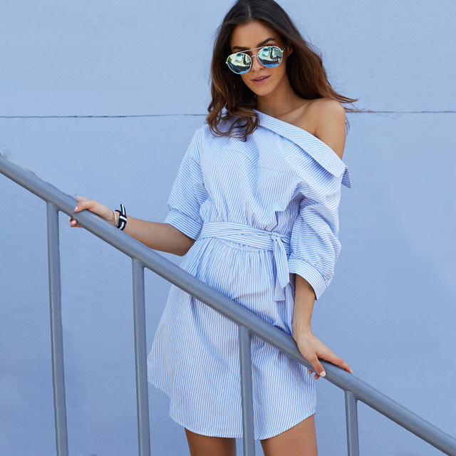 2016 Fashion One Shoulder Blue Striped Women Shirt Dress Sexy Side Split Elegant Puff Sleeve Waistband Casual Beach Dresses B629