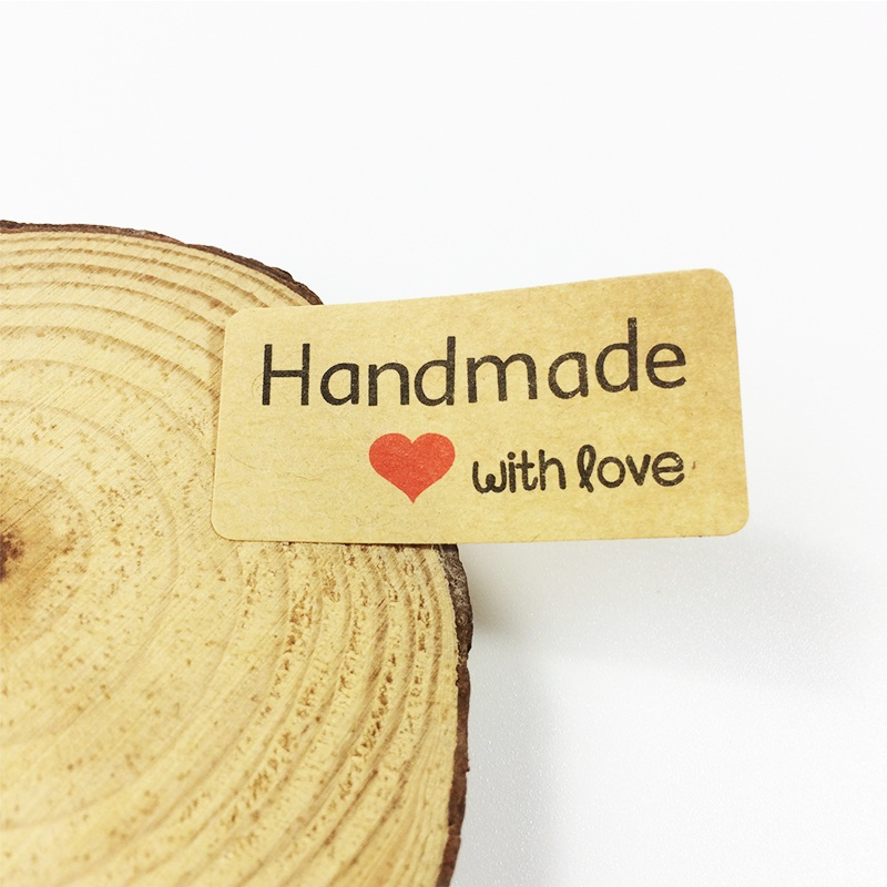 600 Pcs/lot Handmade With Love Scrapbooking With Red Heart Kraft Paper Label Stickers Gift Packaging Sealing Sticker