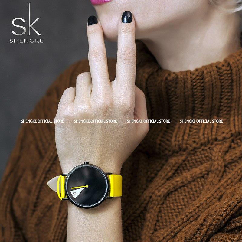 SHENGKE Fashion Women Watch Creative Casual Women Yellow Wrist Watch Ladies Quartz Watch Relogio Feminino Bayan Kol Saati