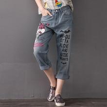 Плюс размер 32-42 женщин джинсовые брюки 2017 Жира ММ Карандаш брюки письмо Мультфильм печати джинсы G200