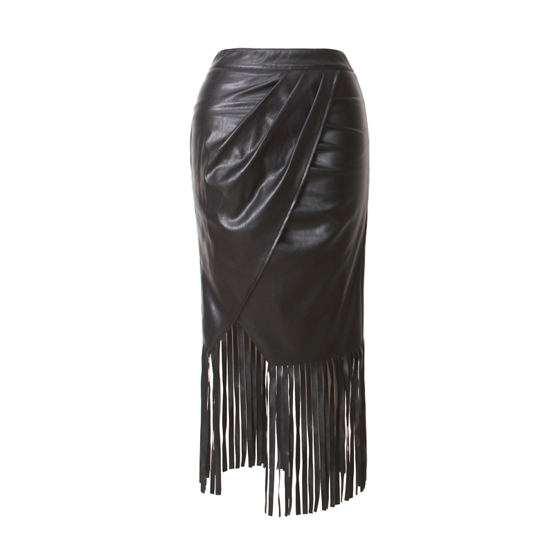 2017 New Trend Women's High Waist Straight PU Leather Skirt Fringed Suede Tassel Saias Skirts