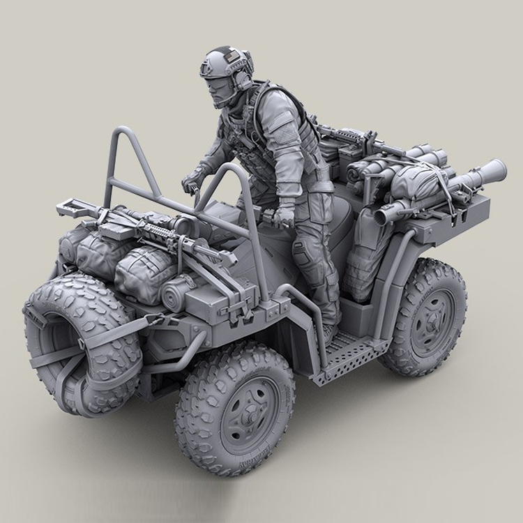 1 35 resin model kit US Special Forces modern ATV rider one set unpainted and unassembled