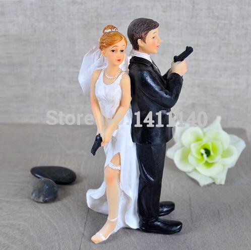 Bond Moive Themed Funny Cake Topper Bride & Groom Wedding Cake Topper Secret Agent Cake Topper wedding gift favor free shipping