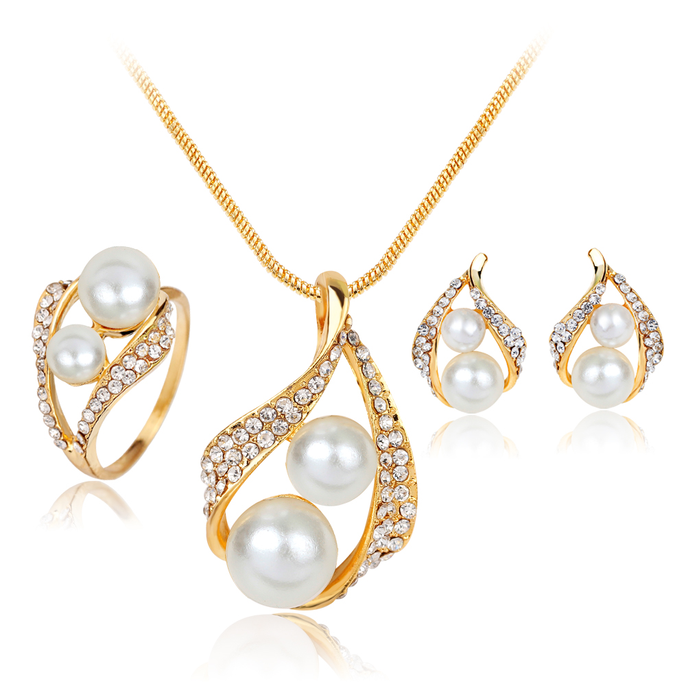 2017 New Simulated-Pearl Wedding schmuck Jewelry Sets Parure Bijoux Mariage Jewelry Necklace Earrings Rings Sets For Women