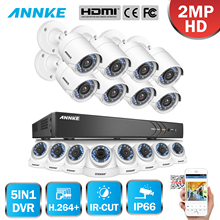 ANNKE 1080P 16CH FHD TVI 5in1 3MP DVR VCA 16pcs 2MP HD IR Day Night Vision Bullet Dome CCTV Camera Video Security System