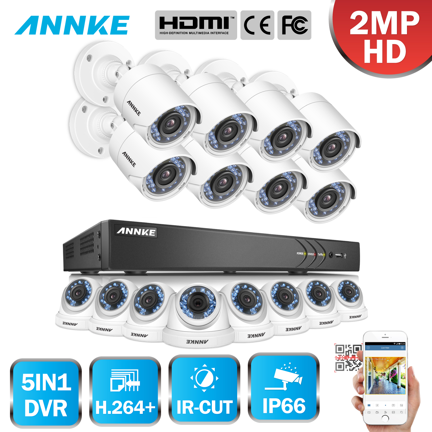 ANNKE 1080P 16CH HD 5in1 3MP DVR VCA 16pcs 2MP HD TVI Smart IR Day Night Vision Bullet CCTV Camera Security Surveillance System hikvision new english version ds 2ce56d5t vfi cctv turbo hd camera 1080p 2mp with ir day night security video surveillance