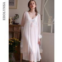 e06d59a9b 2019 Mulheres Sleepwear Robe Set Vestido Transparente de Renda Robe Quimono  Roupão Sexy Sono Vestido Roupa