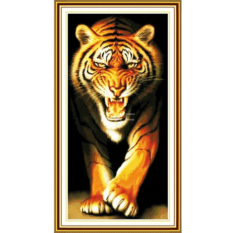 Joie Dimanche Roi de la Monstres Tigre Point De Croix Ensemble Animaux Compté DMC 14CT 11CT Croix Kits point de Broderie couture